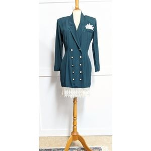 Vintage 1980s Emerald Green Suit Dress size 6